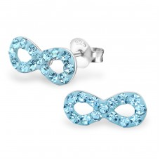 Infinity - 925 Sterling Silver Ear Studs with Crystal stones A4S18777