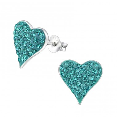 Heart - 925 Sterling Silver Ear Studs with Crystal stones A4S18811