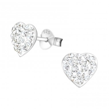 Heart - 925 Sterling Silver Ear Studs with Crystal stones A4S19335