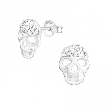 Skull - 925 Sterling Silver Ear Studs with Crystal stones A4S20376
