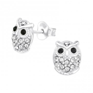 Owl - 925 Sterling Silver Ear Studs with Crystal stones A4S21728