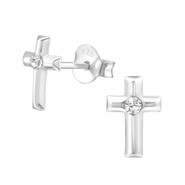 Cross - 925 Sterling Silver Ear Studs with Crystal stones A4S22341