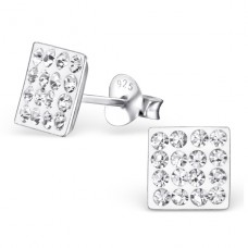 Square - 925 Sterling Silver Ear Studs with Crystal stones A4S2377