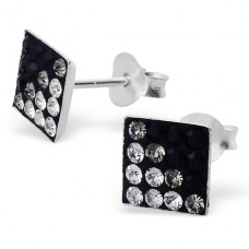 Square - 925 Sterling Silver Ear Studs with Crystal stones A4S2380