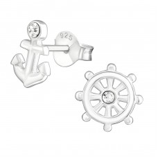 Anchor And Ship's Wheel - 925 Sterling Silver Ear Studs with Crystal stones A4S24063