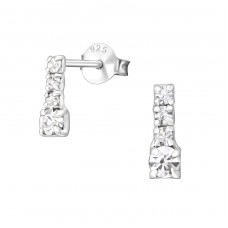 Bar - 925 Sterling Silver Ear Studs with Crystal stones A4S26521