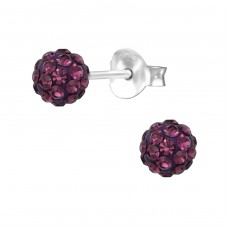 Ball - 925 Sterling Silver Ear Studs with Crystal stones A4S28241