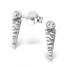 Triangle - 925 Sterling Silver Ear Studs with Crystal stones A4S29625