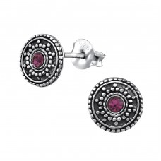 Antique Round - 925 Sterling Silver Ear Studs with Crystal stones A4S31069