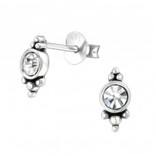 Marquise - 925 Sterling Silver Ear Studs with Crystal stones A4S31071