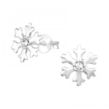Snowflake - 925 Sterling Silver Ear Studs with Crystal stones A4S31165