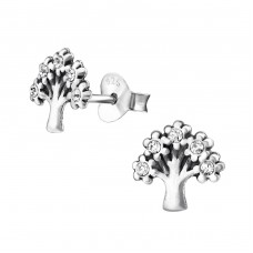 Tree - 925 Sterling Silver Ear Studs with Crystal stones A4S31175