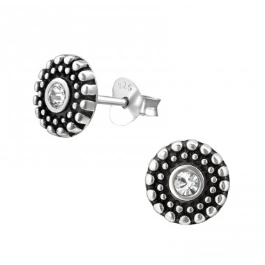 Oxidized - 925 Sterling Silver Ear Studs with Crystal stones A4S31406