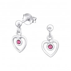 Hanging Heart - 925 Sterling Silver Ear Studs with Crystal stones A4S32024