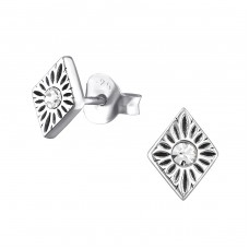Marquise - 925 Sterling Silver Ear Studs with Crystal stones A4S32387