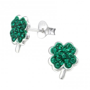 Lucky Clover - 925 Sterling Silver Ear Studs with Crystal stones A4S33065