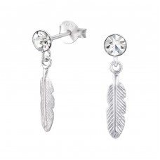 Hanging Feather - 925 Sterling Silver Ear Studs with Crystal stones A4S33426