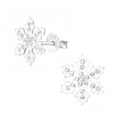 Snowflake - 925 Sterling Silver Ear Studs with Crystal stones A4S33670