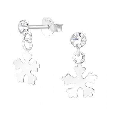 Hanging Snowflake - 925 Sterling Silver Ear Studs with Crystal stones A4S33733