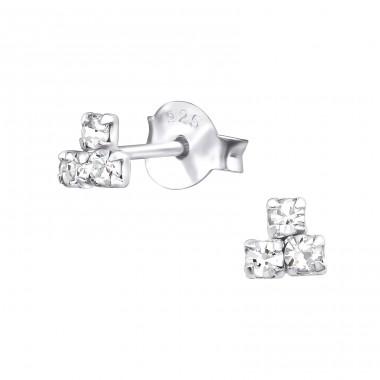 Triangle - 925 Sterling Silver Ear Studs with Crystal stones A4S33958