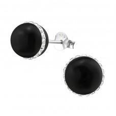 Round - 925 Sterling Silver + Plastic Ear Studs with Crystal stones A4S34570
