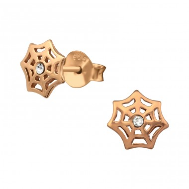 Spider Web - 925 Sterling Silver Ear Studs with Crystal stones A4S34631