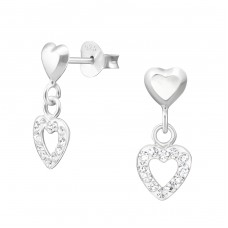 Heart - 925 Sterling Silver Ear Studs with Crystal stones A4S34942