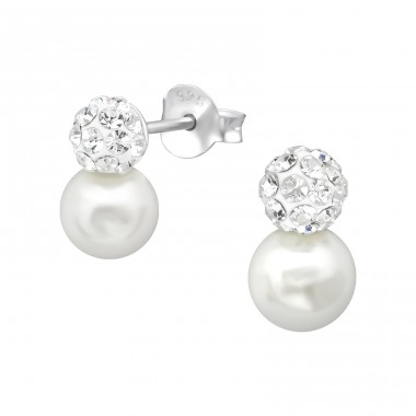Double Ball - 925 Sterling Silver Ear Studs With Crystal Stones A4S34952