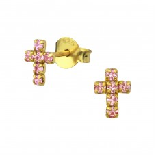 Cross - 925 Sterling Silver Ear Studs with Crystal stones A4S35202