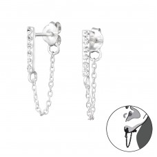 Bar With Hanging Chain - 925 Sterling Silver Ear Studs with Crystal stones A4S35206