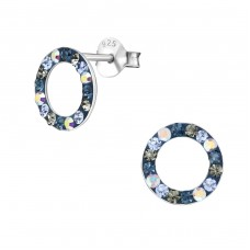 Circle - 925 Sterling Silver Ear Studs with Crystal stones A4S35456