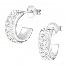 Half Hoop - 925 Sterling Silver Ear Studs with Crystal stones A4S35859