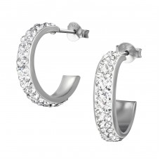 Half Hoop - 925 Sterling Silver Ear Studs with Crystal stones A4S36143