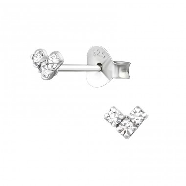 Mini Heart - 925 Sterling Silver Ear Studs with Crystal stones A4S36203