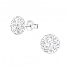Round - 925 Sterling Silver Ear Studs with Crystal stones A4S36471