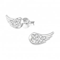 Wing - 925 Sterling Silver Ear Studs with Crystal stones A4S36476