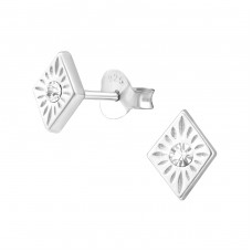 Diamond Shaped - 925 Sterling Silver Ear Studs with Crystal stones A4S36626
