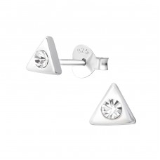 Triangle - 925 Sterling Silver Ear Studs with Crystal stones A4S36638
