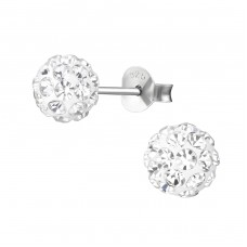 Round - 925 Sterling Silver Ear Studs with Crystal stones A4S36639