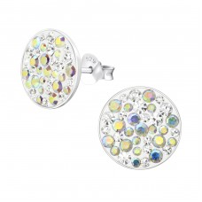 Round - 925 Sterling Silver Ear Studs with Crystal stones A4S36640