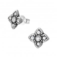 Flower - 925 Sterling Silver Ear Studs with Crystal stones A4S36641