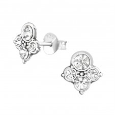 Antique - 925 Sterling Silver Ear Studs with Crystal stones A4S37018