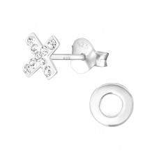 Xo - 925 Sterling Silver Ear Studs with Crystal stones A4S37020