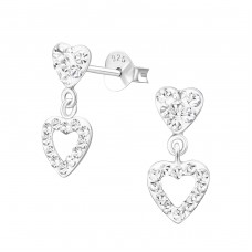 Hanging Heart - 925 Sterling Silver Ear Studs with Crystal stones A4S37029