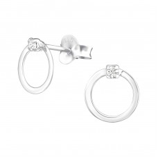 Circle - 925 Sterling Silver Ear Studs with Crystal stones A4S37035