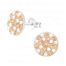 Round - 925 Sterling Silver Ear Studs with Crystal stones A4S37039