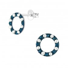 Circle - 925 Sterling Silver Ear Studs with Crystal stones A4S37040