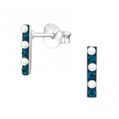 Bar - 925 Sterling Silver Ear Studs with Crystal stones A4S37041