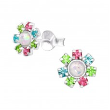 Flower - 925 Sterling Silver Ear Studs with Crystal stones A4S37046