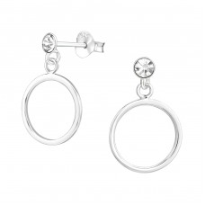 Circle - 925 Sterling Silver Ear Studs with Crystal stones A4S37047